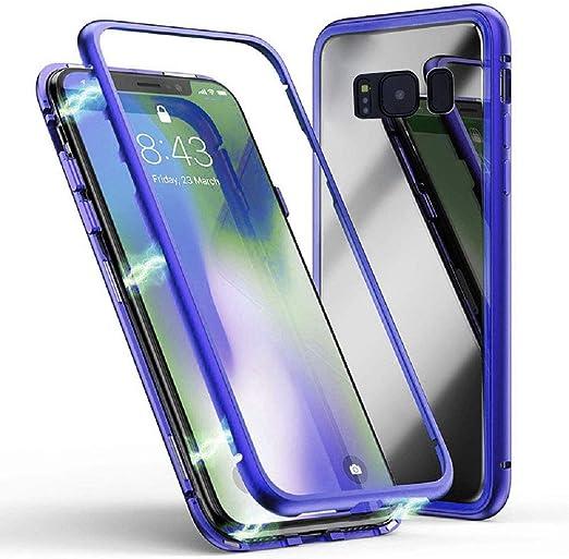Jonwelsy Funda para Samsung Galaxy S9 Plus Adsorci/ón Magn/ética Parachoques de Metal con 360 Grados Protecci/ón Case Cover Transparente Ambos Lados Vidrio Templado Cubierta para Samsung S9+ Rojo