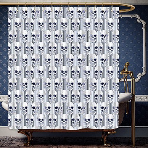 Wanranhome Custom-made shower curtain Skulls Set Skulls And Geometric Shapes With Optical Effects Illustration For Bathroom Decoration 36 x 72 - Near Optical Me Stores