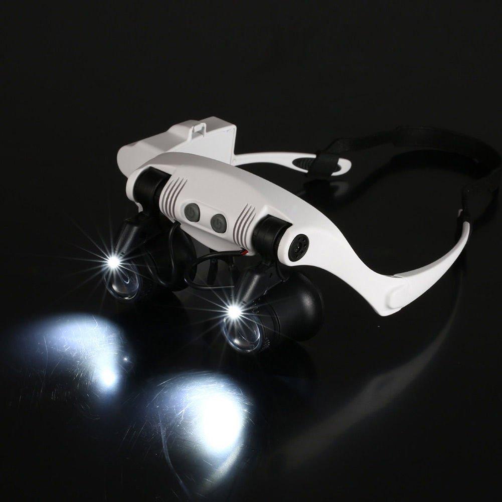ababd308e138dc lzndeal 10X 15X 20X 25X Loupe Magnifier 2 LED Lunettes Bijoutier Loupes  Grossissantes, 8 Lentilles