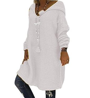 a03b05343f Pull Capuche Femme Long Chaud Robe Pull Grosse Maille à Capuche Femme Large  Oversize Pull Tunique Torsadé Manche Longue Ample Hiver Epais Robe Sweat  Grosses ...