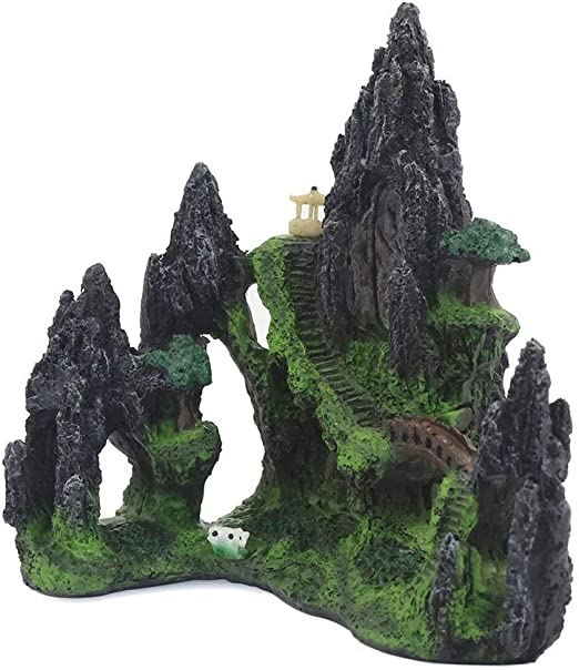 POPETPOP Resina Acuario Paisajismo Rocalla Piedra Decorativa Torre de Montaña Adornos Accesorios para Acuarios: Amazon.es: Jardín