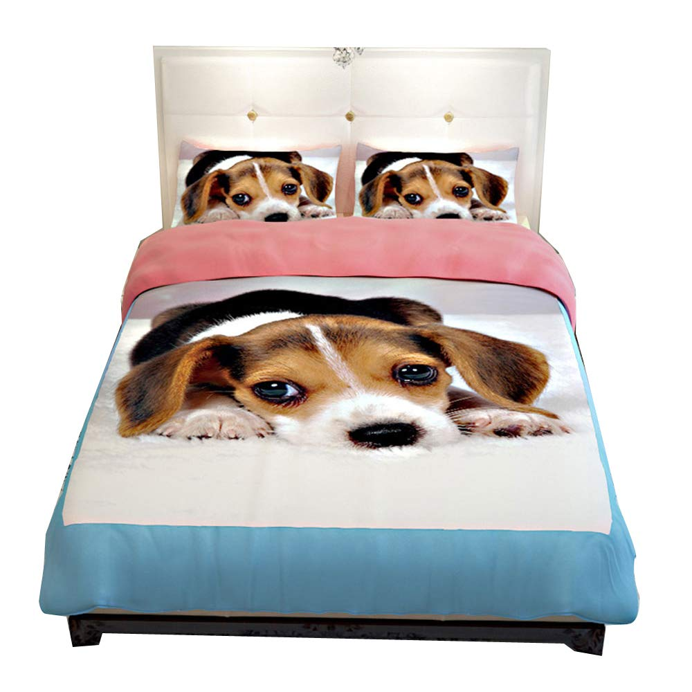 RuiHome 4 Pieces Puppy Dog Print Duvet Cover Set Full Size Bedding for Adults Teens Kids, Fade Stain Resistant by RuiHome