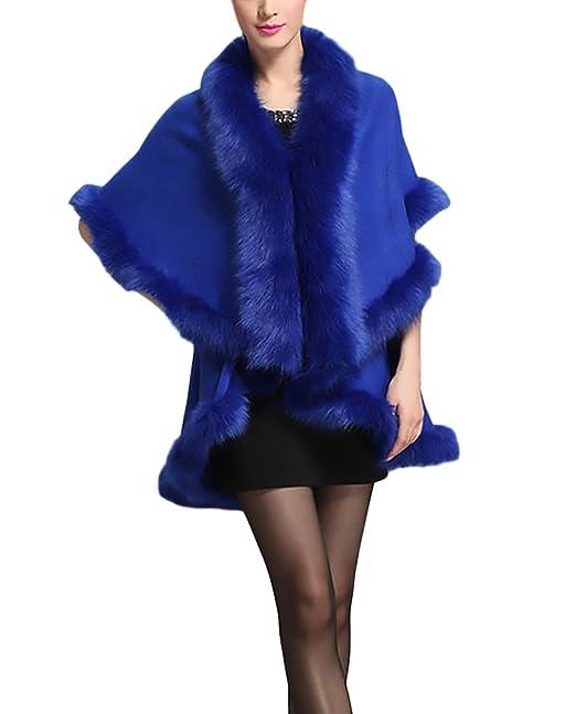 Mujer Abrigos Pelo Invierno Elegantes Vintage Asimétrica Moda De Fiesta Coctel Parka Más Grueso Termico Piel Sintetica Color Sólido Ponchos Outerwear ...