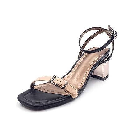 Rough Con Tacones Altos Cómodo Retro Buckle Con Roma Sandalias Verano Pies  Desnudo Zapatos Elegante Abierto 5e15d14fa593