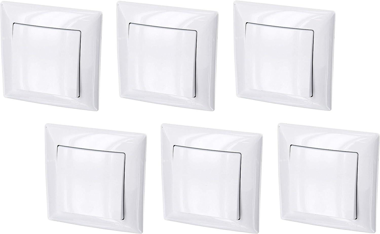 Juego de 6 interruptores de encendido y apagado (serie G1 en blanco puro)