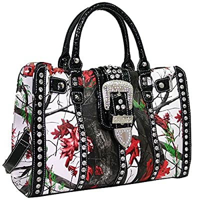 Western Camo Rhinestone Buckle Accent Concealed Carry Gun Satchel Bag With Matching Wallet