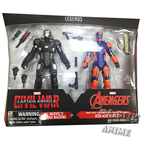 (Marvel Legends 6 Inch Captain America: Civil War Action Figure Set (War Machine and Iron Man Mark)