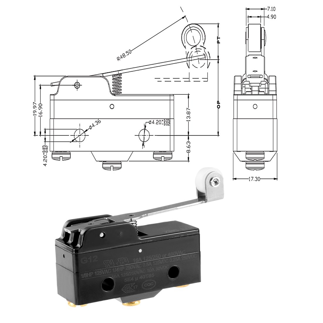 uxcell 3pcs G1216-1RW3 Screw Terminals Long Hinge Roller Lever Micro Limit Switch 380VAC 15A by uxcell (Image #3)