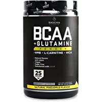 Sascha Fitness BCAA 4:1:1 + Glutamine,HMB,L-Carnitine, HICA | Powerful and Instant Powder Blend with Branched Chain Amino Acids (BCAAs) for Pre, Intra and Post-Workout | Natural Pineapple Flavor,350g