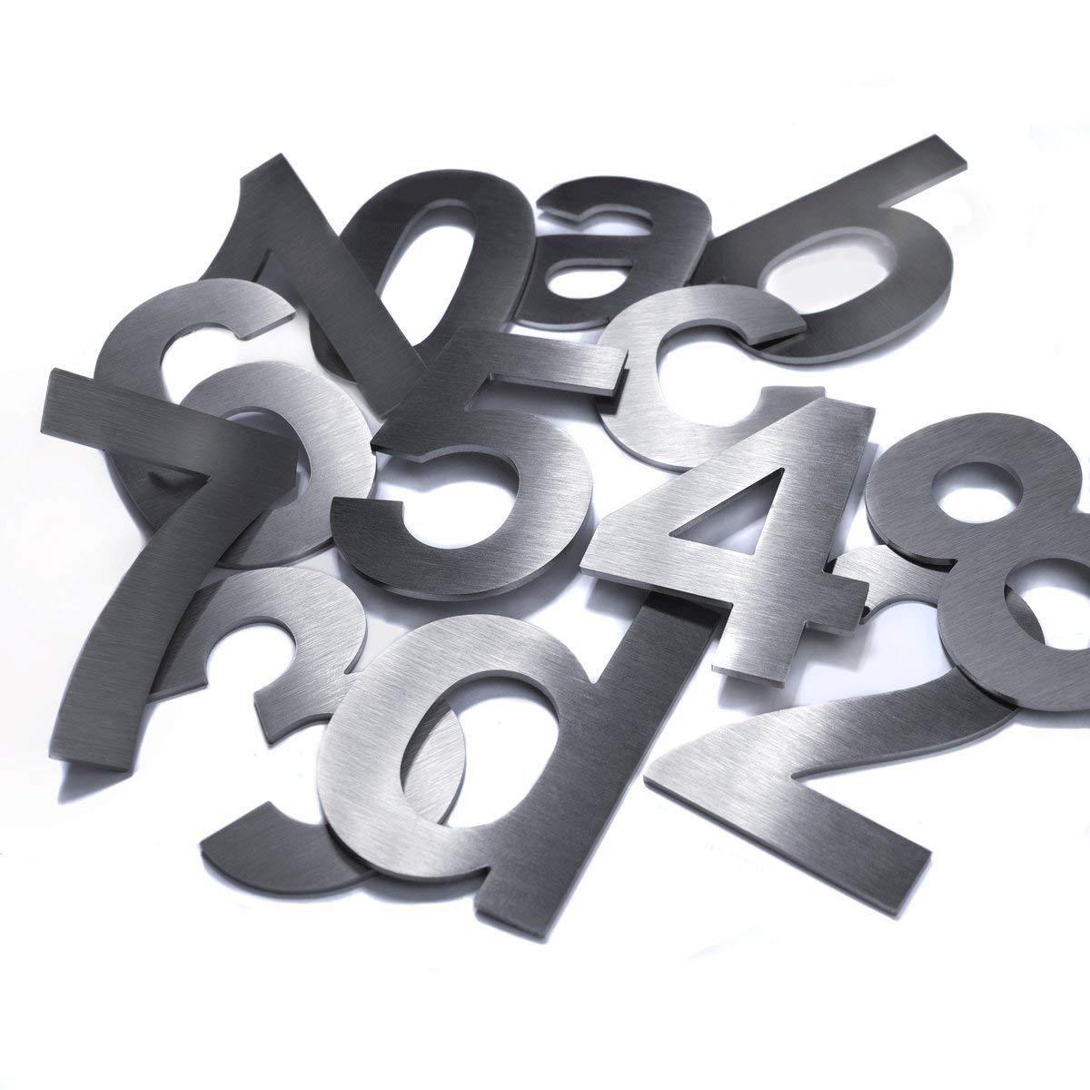 200mm 2mm 0 Materialst/ärke Hochwertige Edelstahl V2A HausnummerKlassisch grob geschliffen massiv /& rostfrei H/öhe