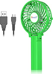 VersionTECH. Mini Handheld Fan, Personal Portable Desk Table Fan with USB Rechargeable Battery Operated Cooling Folding Electric Fan for Office Room Outdoor Household Traveling Green