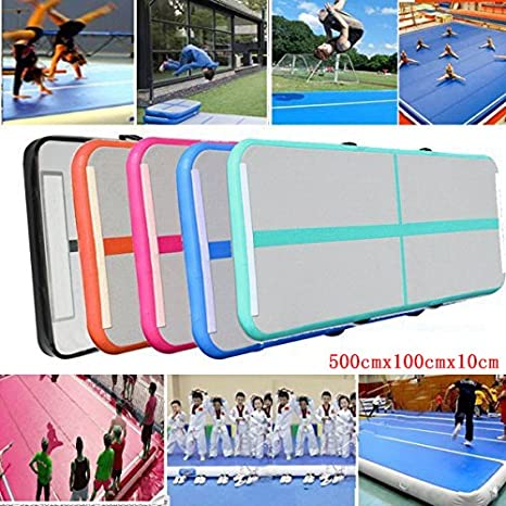 with electric pump BOLANY Inflatable Air Track Mat for Kids//Home Use//Gym//Yoga//Cheer leading//Water 10//20CM Thickness PVC Waterproof Air Floor Mat 3M//4M//5M//6M Inflatable Gymnastics Air Mat