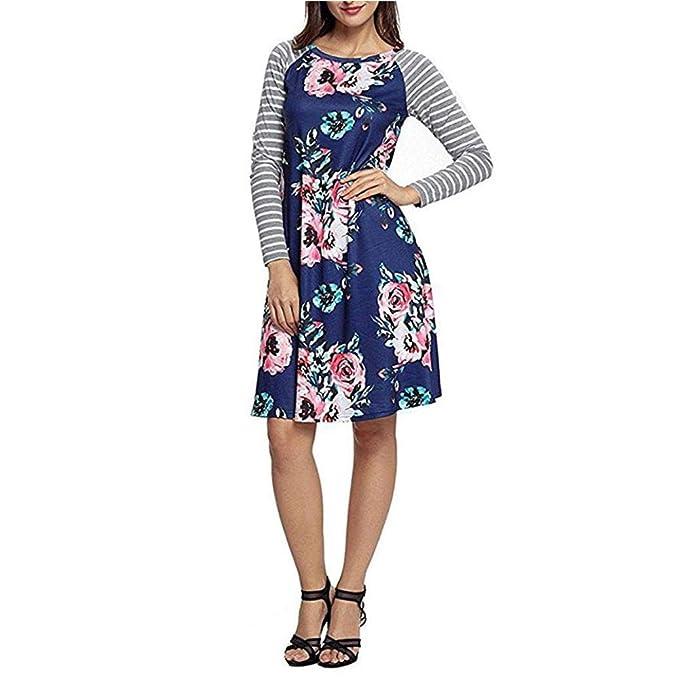 Damen Langarm Kleid Knielanger Rock Blumenkleid Drucken Kurzer Strandkleid  Vintage Abendkleid Rundhals Hohe Taille Elegant Streifen 86419c2bd4