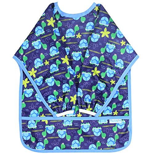 ved Baby Bib - Waterproof Bib for Babies - Toddler bib (6-24 Months) with Pocket, Turtle ()
