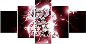 Crimson Tide Football Wall Decor Art Paintings 5 Piece Canvas Picture Artwork Living Room Prints Poster Decoration Wooden Framed Ready to Hang(60''Wx32''H)