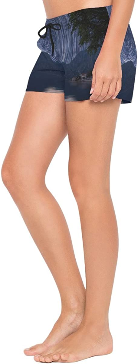 HEOEH Womens Galaxy Swirl Natural Scenery Beach Shorts Pants Ladies Boardshort Swimming Trunks
