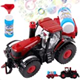 Bubble Farm Tractor Truck Toy Bump & Go Bubble Blowing Tractor Truck Carrying Trailer Battery Operated w/ Music And Flashing Lights , Farmer Car Toy , Christmas Gift