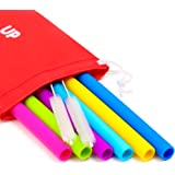 Silicone Straws for 30 oz Tumbler Complete Bundle - 6 Straight Silicone Straws for Yeti / Rtic / Ozark + 2 Brushes + 1 Red Storage Pouch - Extra Long Reusable Straws