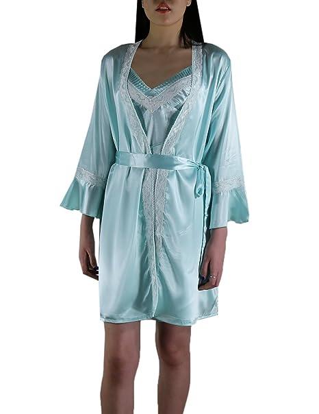 4a841bb391 Victoria Silk 2 PCS Set Womens Gorgeous Lounge Sleepwear Dress & Robe Set  Size M Cyan at Amazon Women's Clothing store: