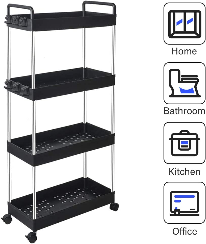 SOLEJAZZ 4-Tier Storage Cart Mobile Shelving Unit Organizer Rack, Slide Out Rolling Utility Cart with Handle for Kitchen Living Room Bathroom Laundry Room & Dressers, Black