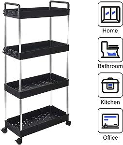 SOLEJAZZ 4-Tier Storage Cart Mobile Shelving Unit Organizer Rack, Slide Out Rolling Utility Cart with Handle for Kitchen Living Room Bathroom Laundry Room & Dressers, Black