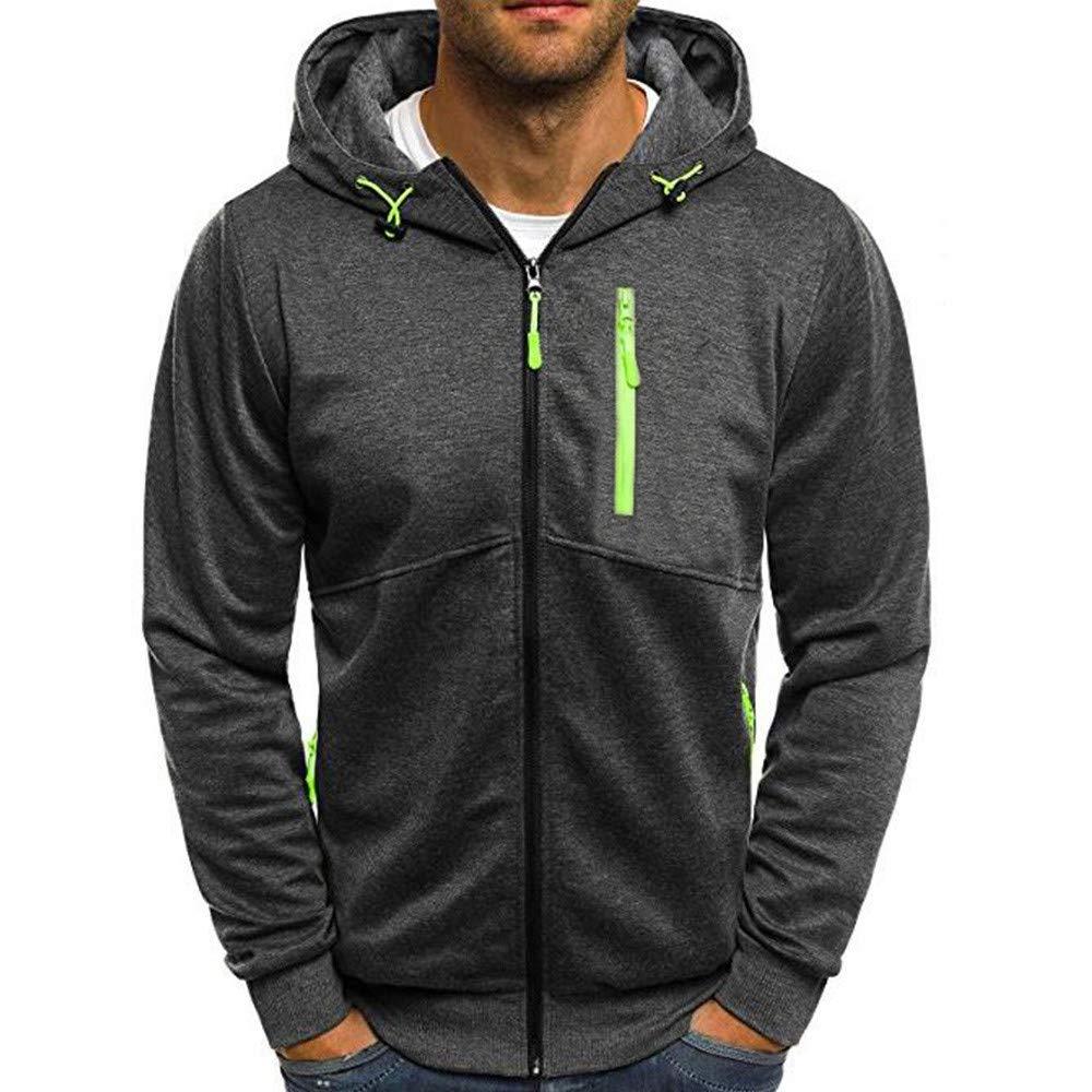 ZYEE Clearance Men's Autum Winter Tops Long Sleeve Hooded Zipper Patchwork Hooded Sweatshirt Cardigan