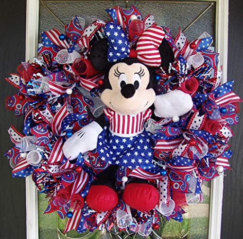 FAST SHIP! Minnie Mouse 4th Fourth of July Patriotic Deco Mesh Front Door Wreath, Disney Home Decor, Porch Patio Decoration, Memorial Veterans Day, Summer (Minnie Mouse Invitations Red)