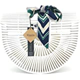 VM FASHION KISS Womens Bamboo Products Half Moon bag Bamboo Hollow Stitching Handbag Beach bag Ladies