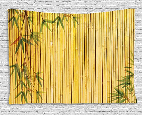 Ambesonne Bamboo House Decor Collection, Background with Tree Branches Exotic Plants Asian Flora Artwork, Bedroom Living Room Dorm Wall Hanging Tapestry, 80 X 60 Inch, Green