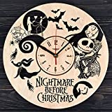 Cheap 7ArtsStudio Nightmare Before Christmas Wooden Wall Clock – Decorative Wall Clock Made from Eco Wood with Silent Quartz Movement and Autonomous Power Source – Can be Painted, Great Gift Idea