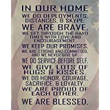 Military Family Wall Poster Print - In Our Home - House Rules - Army, Navy, Marines, Air Force - Patriotic - 4th of July - Frame NOT included (8x10, Flag)