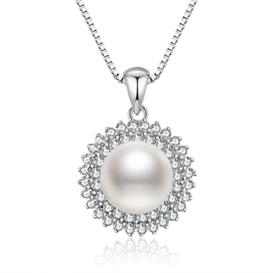 Pearl necklace for women sntine 925 sterling silver necklace pearl necklace for women sntine 925 sterling silver necklace pearl pendant sunflower cubic mozeypictures Gallery