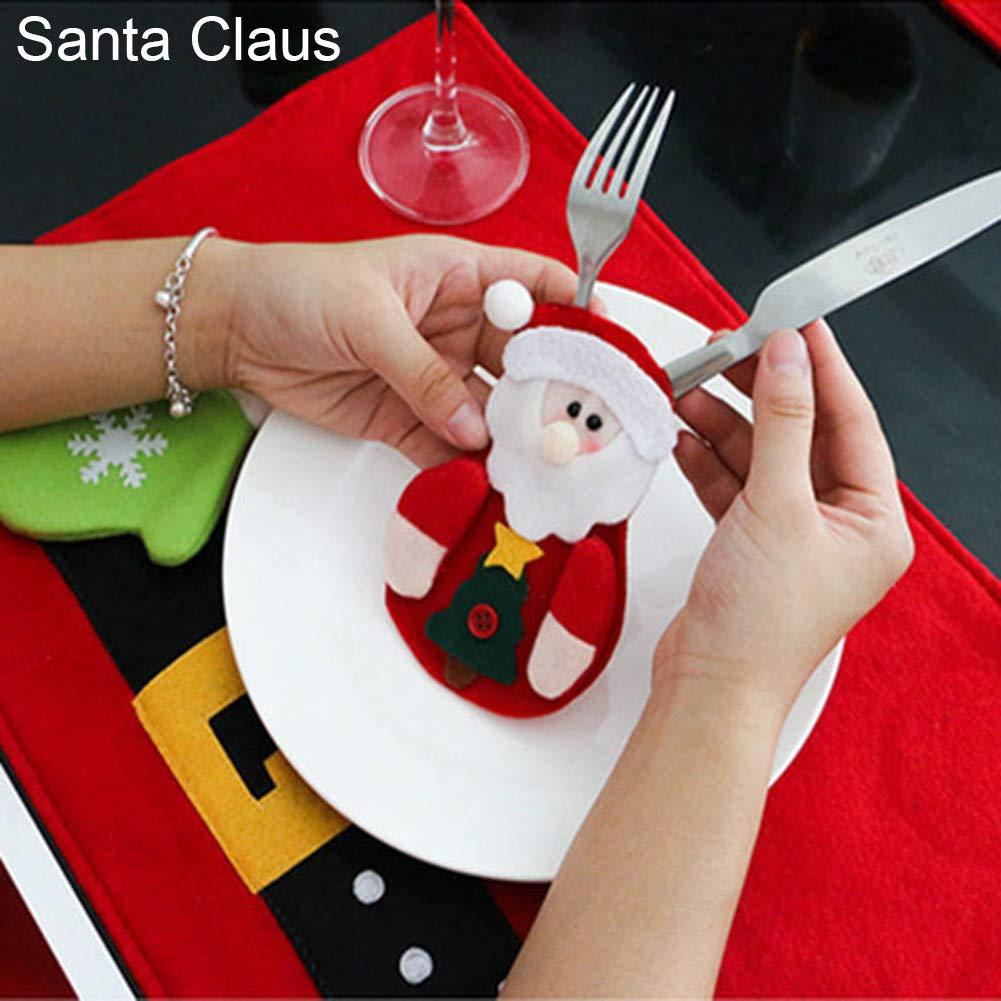 CHoppyWAVE Cutlery Pouch, Santa Snowman Cutlery Holder Utensil Bag Fork Knife Pocket Xmas Table Decor - Santa Claus by CHoppyWAVE (Image #1)