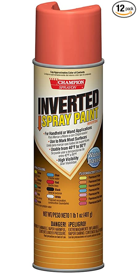 Champion 4802 Inverted Spray Paint, Fluorescent Red-Orange (Pack of 12)