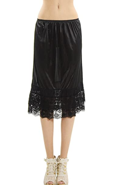ee3185625ab Melody Long Double lace Satin Half Slip Skirt Extender Underskirt- 24 quot   Length (Black