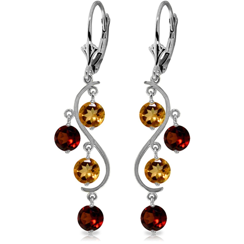 ALARRI 4.6 Carat 14K Solid White Gold Homage To Love Garnet Citrine Earrings