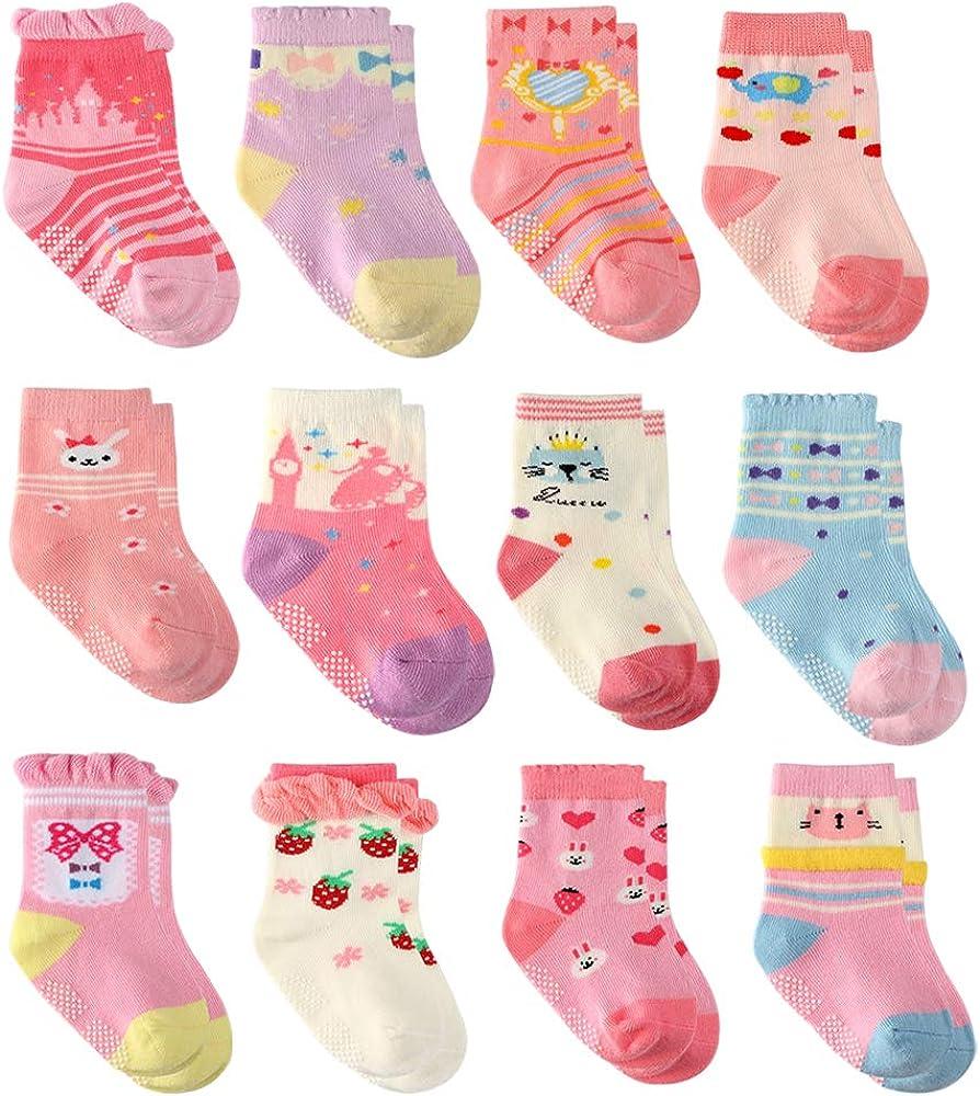 12 Paia Ragazza del Neonato Infantile Bambino Calzini di Cotone Calzini Antiscivolo per Bambine e Ragazze per Beb/è