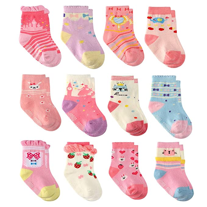 Wobon 12 Pares para Algodón Recién Nacido Infantil Niña Calcetines, Calcetines Antideslizantes para Bebé Niñas