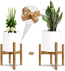 "Honest Mid Century Adjustable Plant Stand,Modern Wood Indoor Plant Stand Bamboo Flower Pot Holder,(Plant and Pot NOT Included) Fits Medium & Large Pots(Adjustable Width:11""-16"")"