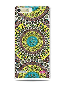 GRÜV Premium Case - 'Fun Cool Funky Vibrant Colorful : Traditional African Mosaic Tribal Pattern' Design - Best Quality Designer Print on White Hard Cover - for Huawei Ascend P7 Mini