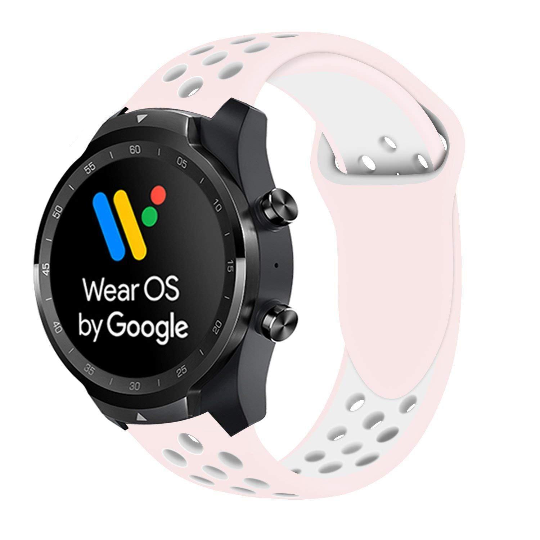 Ceston Deporte Silicona Clásico Correas para Smartwatch TicWatch Pro (Rosa + Blanco)