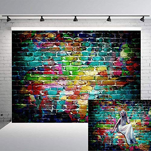 Art Studio 7x5ft Graffiti Photography Backdrops Colorful Brick Wall Photo Background Adults Children Portrait Studio Props Birthday Party Decor Supplies Vinyl (Graffiti Brick Wall)