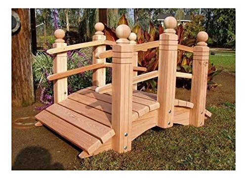 Redwood Garden Bridges 4 ft. Curved Double Rail Span Bridge (Curved Double Rail Sealed w Lights) Curved Rail Garden Bridge