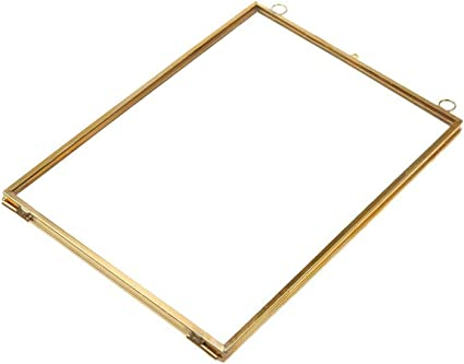 Vintage Style Glass Hanging Free Stand Picture Photo Frame Portrait Brass Black
