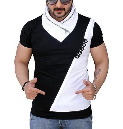 Black Collection Men's Cotton V-Neck T-Shirt Men's T-Shirts at amazon