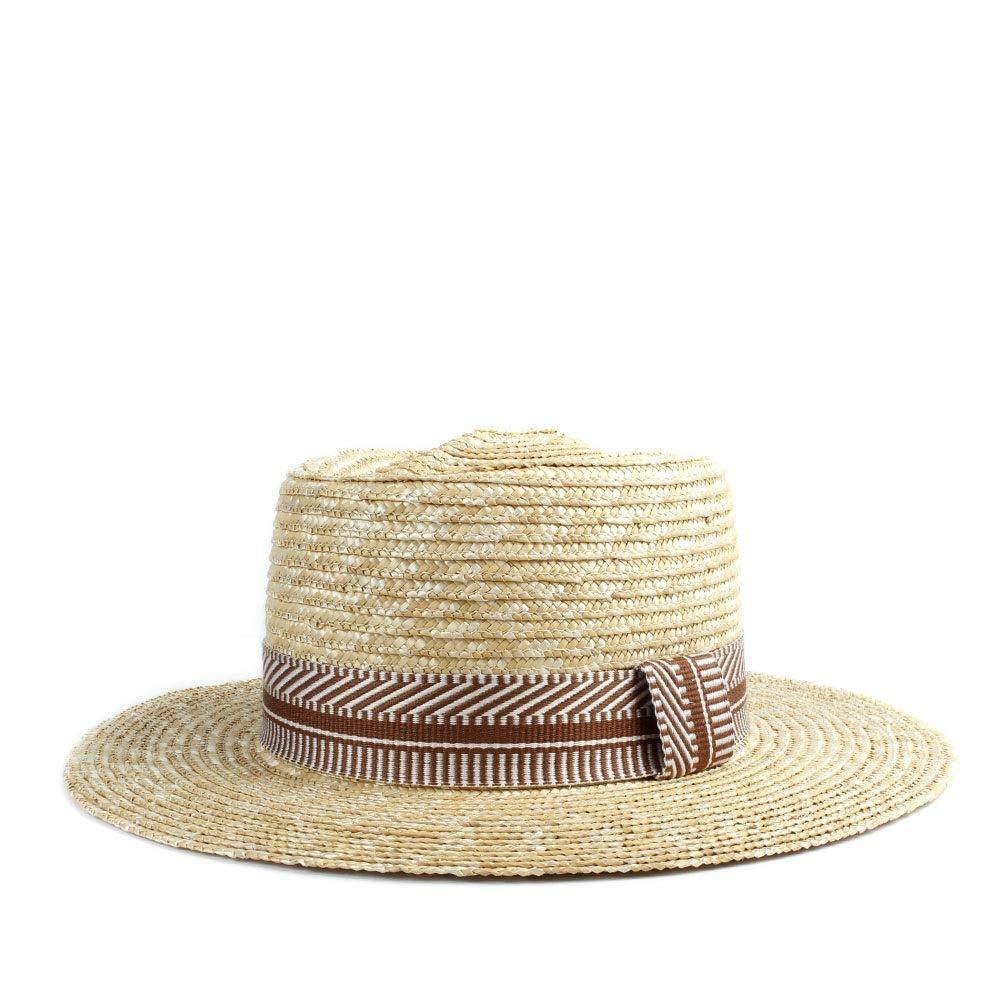 MUMUWU Sun Hat Straw Women Cap Summer Solid Semblance Striped Sun Beach Hat Retro Ladies Hat Flat Circle Head Hat (Color : Red, Size : 56-58CM)