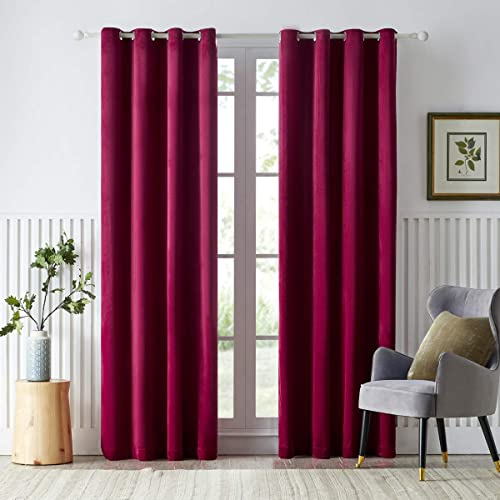 GIGIZAZA Velvet Wine Red Thermal Curtain 95 inch Long,Burgundy Black Out Darkening Curtains Review