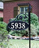 Address America Park Place Oval Reflective 911 Home Address Sign for Yard - Custom Made Address Plaque - Wrought Iron Look Exclusively