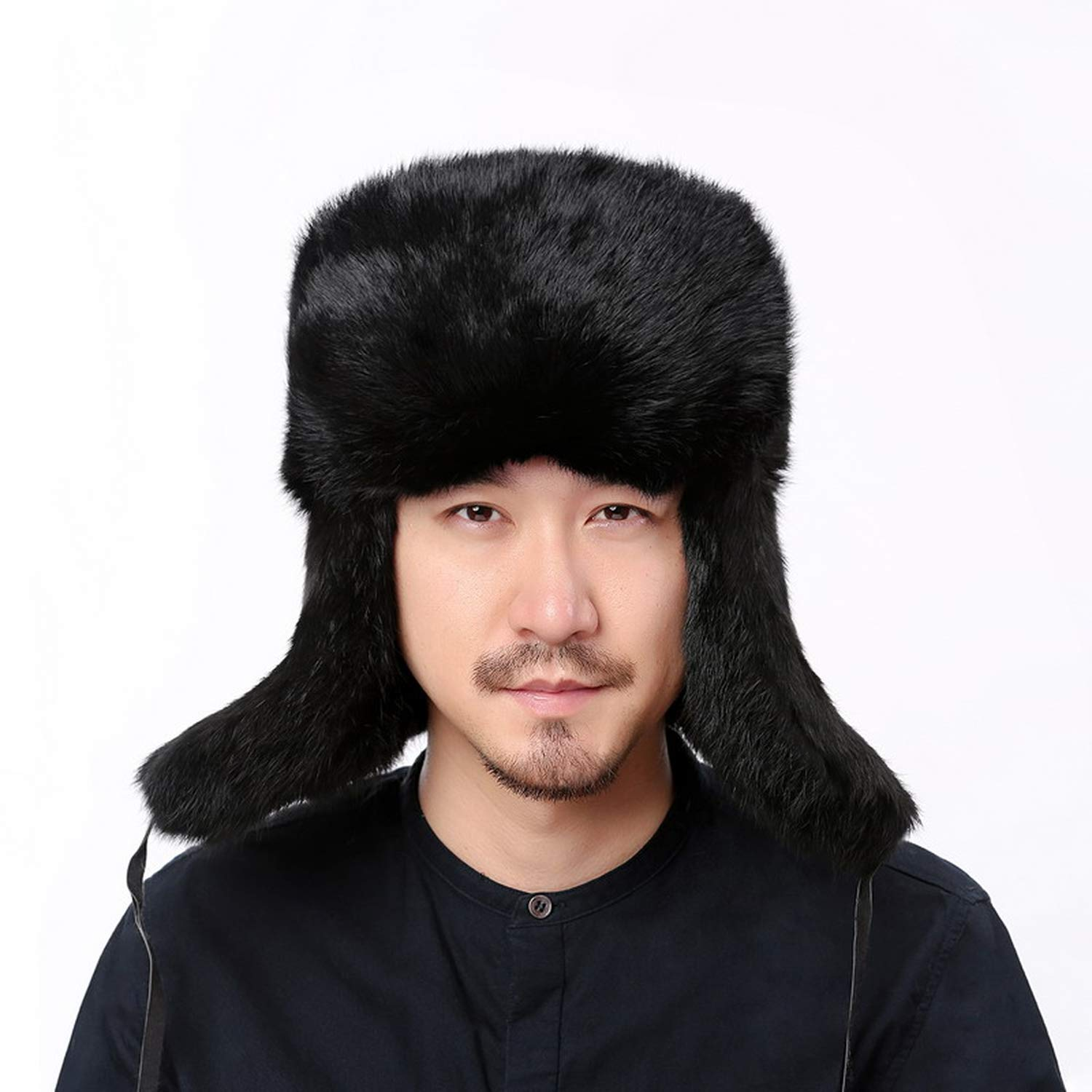 c4ee37640 DOSOMI Winter Bomber Hat Male Real Natural Rabbit Fur Hat Russian ...