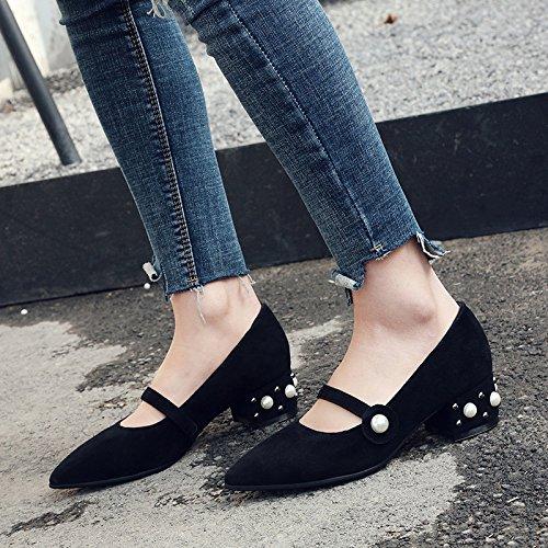 Rivets Pointu Cuir Peu épais Travail Pour Profonds Chaussures MUYII Chaussures Femmes De Plates En Talon awUcqzf